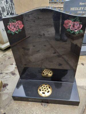 Black Granite with Engraved Roses