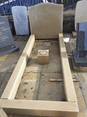 Yorkshire Stone Ogee Headstone & Kerbset