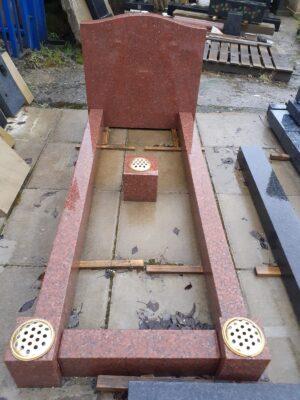 Red Granite Headstone & Kerbset